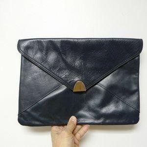 Handbags - bluish black leather envelope clutch